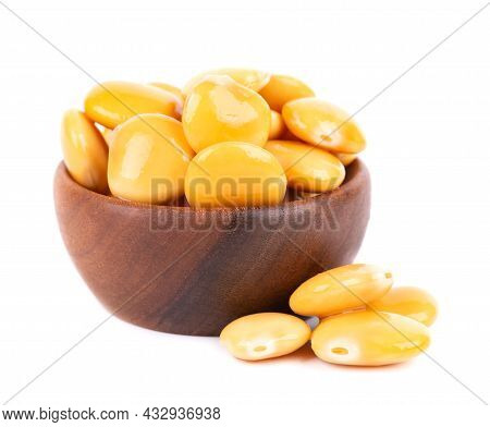 Pickled Yellow Lupine Beans In Wooden Bowl, Isolated On White Background. Tournus, Preserved Lupinus
