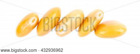 Pickled Yellow Lupine Beans Isolated On White Background. Tournus, Preserved Lupinus