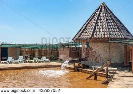 Swimming Pool Near A Geyser With Healing Mineral Water, Kherson Region Ukraine.
