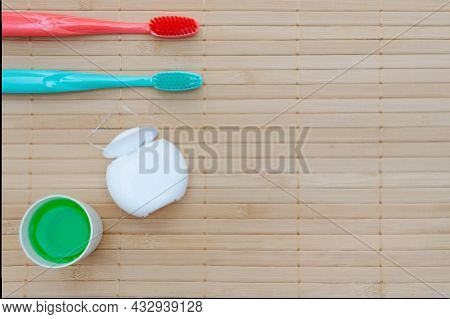 Teeth Hygiene And Oral Dental Care Products. Dental Toothbrushes. Oral Care Kit. Flat Lay. Copy Spac