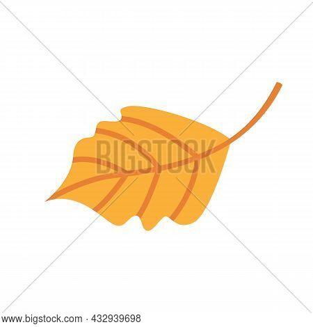 Cute Autumn Fallen Yellow Leaf. Autumnal Clipart Or Element For Greeting Card Design. Seasonal Objec