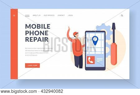 Mobile Phone Repair Service. Recovery And Handling Of Electronic Gadgets. Mobile Application With Ma