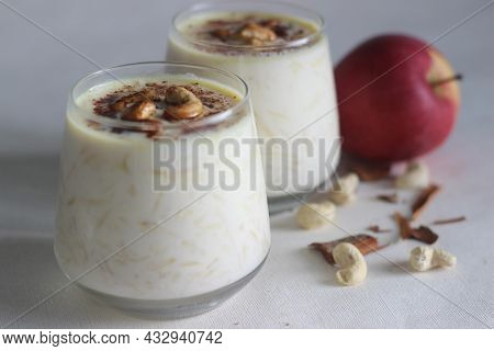 Apple Pudding. Made With Grated Apple, Milk. Sweetened With Sugar And Flavored With Cinnamon. Also C