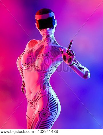 Woman Robot In Virtual Reality Glasses.