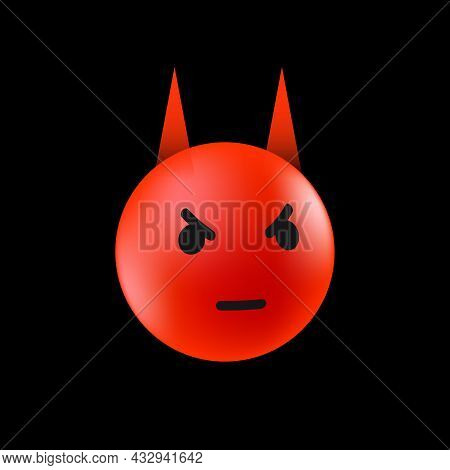 Evil Emoticon. Angry Face. Emotional Reaction Template For Social Media. Vector Illustration