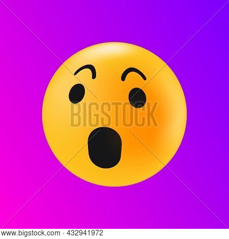Shocked Emotion Icon. Astonished Face Reaction In Social Media Texting. Isolated Element. Vector Ill