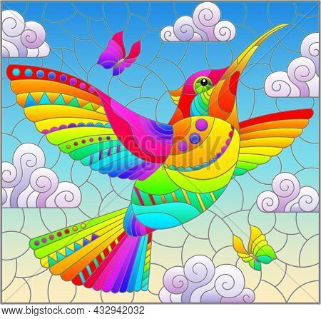 An Illustration In The Style Of A Stained Glass Window With A Bright Cartoon Hummingbird Bird On A B