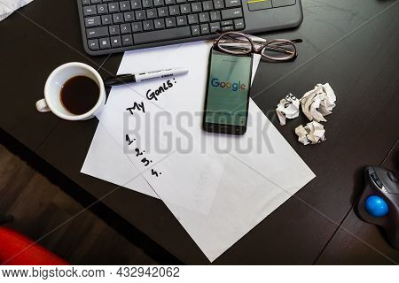 Business Concept, Laptop And Other Objects. To Do List, Goal List, Coffee On Table In Bucharest, Rom