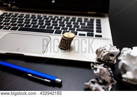 Business Concept, Laptop And Other Objects In Bucharest, Romania, 2021