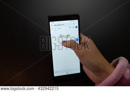 Woman Using Smartphone. Apps On Smartphone. Bucharest, Romania, 2021