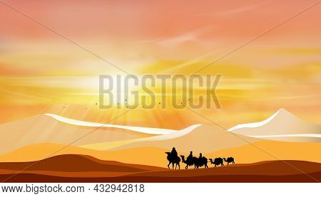Desert Landscape With Arab Family Or Muslim Caravan Riding Camel Going Through The Sand Dunes With S