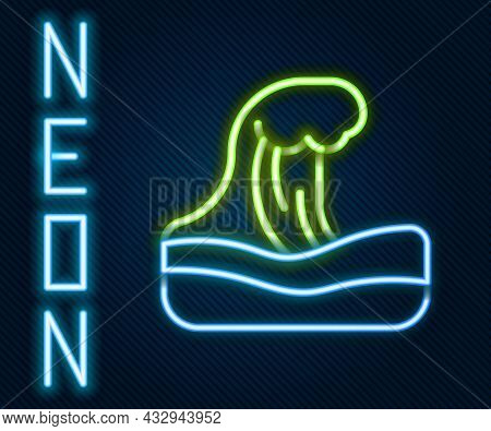 Glowing Neon Line Tsunami Icon Isolated On Black Background. Flood Disaster. Stormy Weather By Seasi