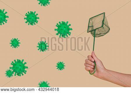 Abstract Concept Of Fighting With Coronavirus. Human Hand Catching Coronavirus With A Net.
