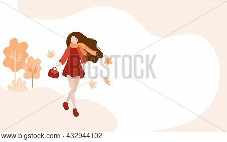 Girl Walking In The Autumn Park Banner. Abstract Woman With Scarf And In Warm Clothes. The Concept O
