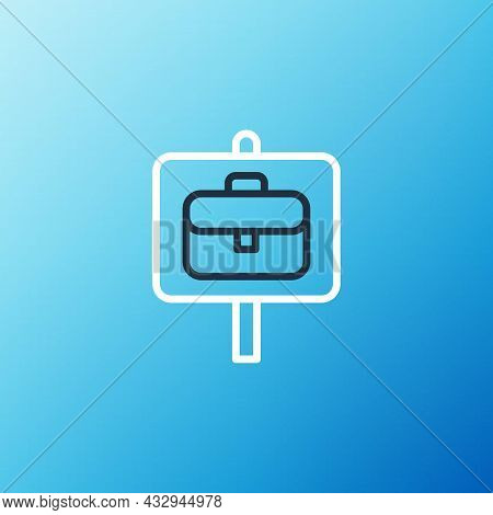 Line Magnifying Glass With Briefcase Icon Isolated On Blue Background. Job Hunting. Work Search Conc