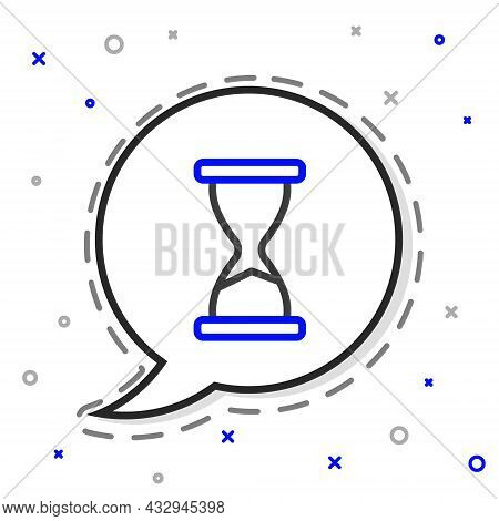 Line Old Hourglass With Flowing Sand Icon Isolated On White Background. Sand Clock Sign. Business An