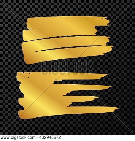Scribble With A Gold Marker. Set Of Two Doodle Style Various Scribbles. Gold Hand Drawn Design Eleme