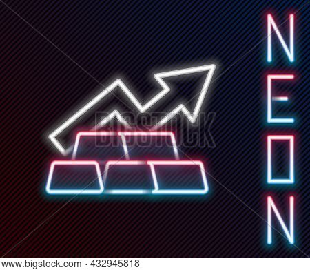 Glowing Neon Line Finance Growth Chart Arrow With Gold Bars Icon Isolated On Black Background. Finan