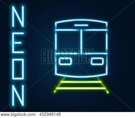 Glowing Neon Line Train And Railway Icon Isolated On Black Background. Public Transportation Symbol.