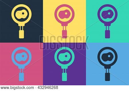 Pop Art Fried Eggs On Frying Pan Icon Isolated On Color Background. Fry Or Roast Food Symbol. Vector