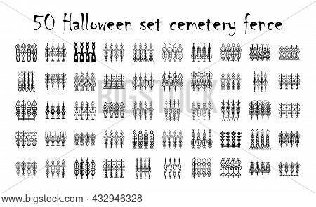 Assorted Spooky Cemetery Gate Silhouettes - Vector. Assets Isolated On A White Background. Scary, Ha