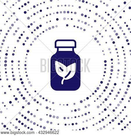 Blue Fertilizer Bottle Icon Isolated On White Background. Abstract Circle Random Dots. Vector