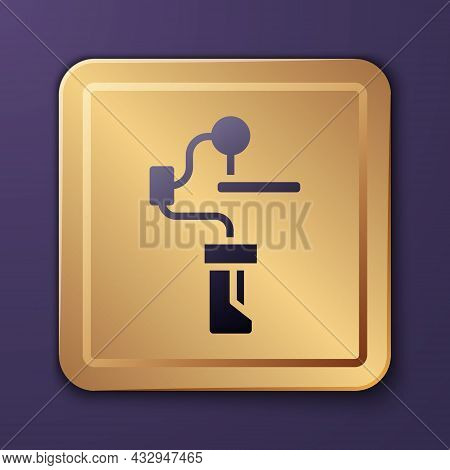 Purple Gimbal Stabilizer For Camera Icon Isolated On Purple Background. Gold Square Button. Vector