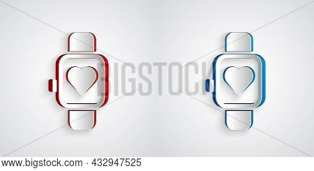Paper Cut Smart Watch Showing Heart Beat Rate Icon Isolated On Grey Background. Fitness App Concept.