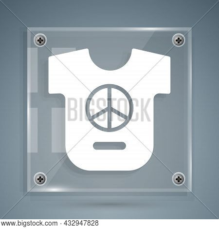 White Peace Icon Isolated On Grey Background. Hippie Symbol Of Peace. Square Glass Panels. Vector