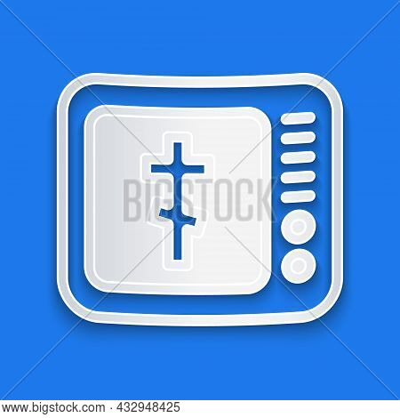 Paper Cut Online Church Pastor Preaching Video Streaming Icon Isolated On Blue Background. Online Ch