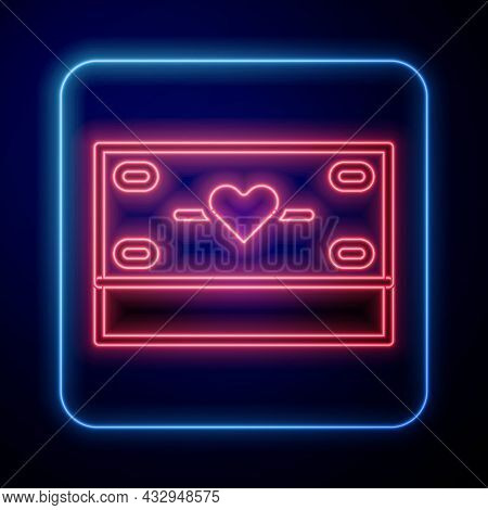 Glowing Neon Donation And Charity Icon Isolated On Black Background. Donate Money And Charity Concep