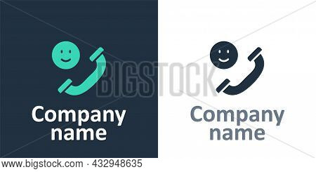 Logotype Incoming Call On Mobile Phone Icon Isolated On White Background. Friends Call. Logo Design