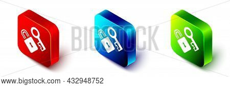 Isometric Lock With Key Icon Isolated On White Background. Love Symbol And Keyhole Sign. Red, Blue A