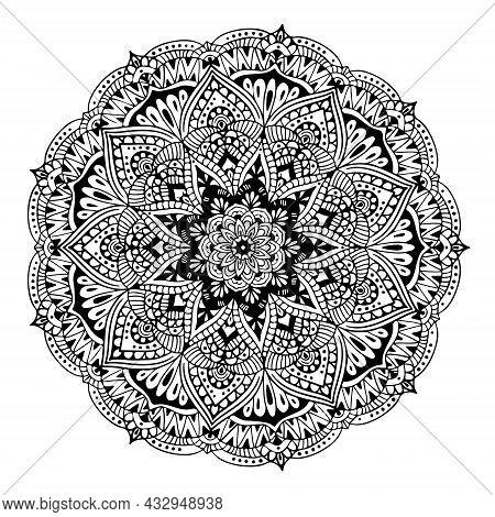 Mandala Circular Symmetric Pattern. Oriental Motif. Floral Decorative Round Ornament In Black Outlin