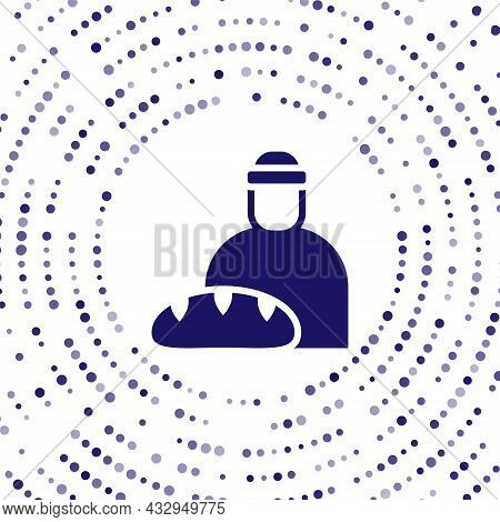 Blue Feeding The Homeless Icon Isolated On White Background. Help And Support. Giving Food To The Hu