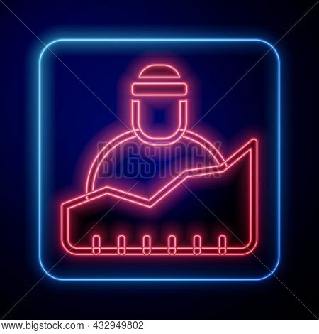 Glowing Neon Growth Of Homeless Icon Isolated On Black Background. Homelessness Problem. Vector