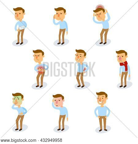 Sick Characters Set With Healthy Adult And People With Illnesses Isolated Vector Illustration