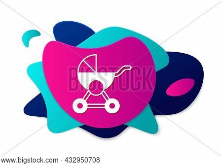 Color Baby Stroller Icon Isolated On White Background. Baby Carriage, Buggy, Pram, Stroller, Wheel.