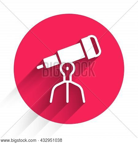 White Telescope Icon Isolated With Long Shadow Background. Scientific Tool. Education And Astronomy