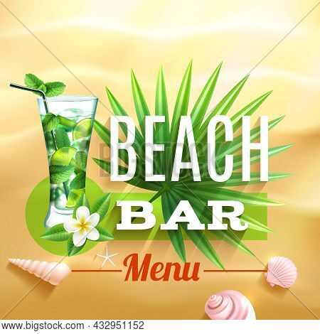 Tropical Design Poster With Mojito Cocktail Glass Palm Leaf And Seashell On Beach Sand Background Ve