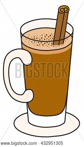 Hot Buttered Rum Cocktail. Stylish Hand-drawn Doodle Cartoon Hipster Style Christmas Winter Or Autum