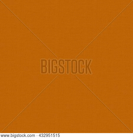Seamless Factory Fabric Of Orange Color . Close-up Long And Wide Texture Of Natural Orange Fabric. F