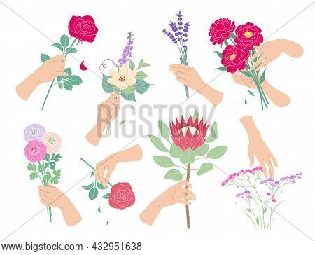 Female Hands Touching And Holding Bunches Of Blooming Flowers. Set Of Colorful Floral Composition Wi