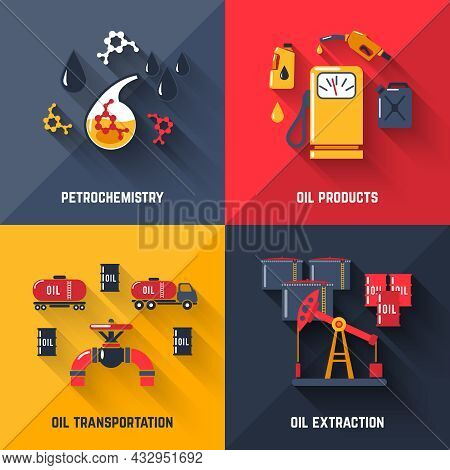 Petroleum Design Concept Set With Petrochemistry Oil Products Transportation And Extraction Flat Ico