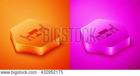 Isometric French Cafe Icon Isolated On Orange And Pink Background. Street Cafe. Table And Chairs. He