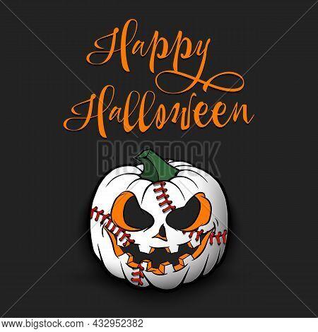 Happy Halloween. Baseball Ball As Pumpkin