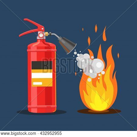 The Fire Extinguisher Extinguishes Fire With Foam. Fire Safety. Flat Vector Illustration.