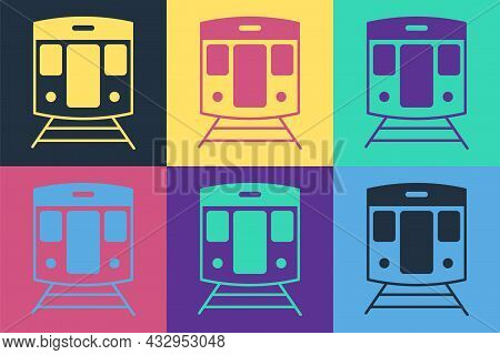 Pop Art Train And Railway Icon Isolated On Color Background. Public Transportation Symbol. Subway Tr