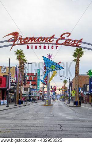 Las Vegas, Usa - March 10, 2019: Fremont East District Entrance Sign With Neon Sculptures In Early M