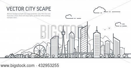 Futuristic Cityscape Thin Line Art Illustration. Outline Future City Panorama. Abstract Town Landsca